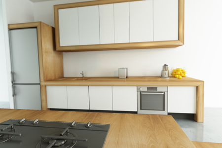 modular: 3D rendering of a modern kitchen with lots of copy space