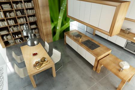 cocinas industriales: Moderno apartamento con una cocina abierta