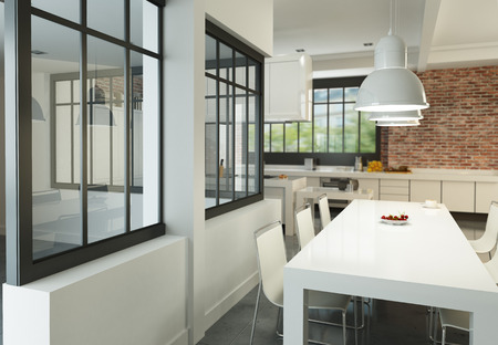 industrial kitchen: 3D rendering of an artist loft with a magnificent integrated kitchen