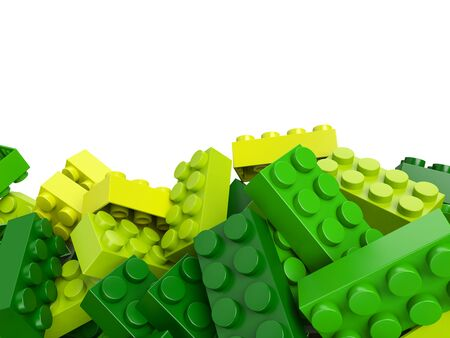 green building: 3D rendering of toy building bricks in green and yellow shades with lots of copy space