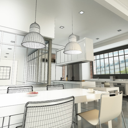 kitchen studio: 3D rendering of a luxurious industrial style loft showing wireframe Stock Photo