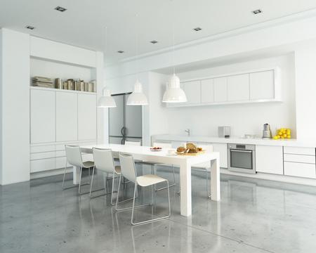현대 넓은 흰색 부엌의 3D 렌더링
