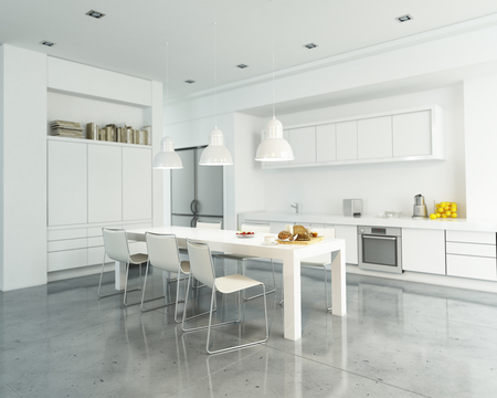 3D rendering of a modern spacious white kitchen Фото со стока