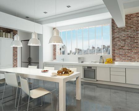 Rendering 3D di una moderna cucina in stile industriale