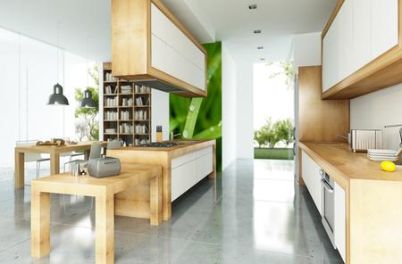 オープン プランのキッチンとモダンな家
