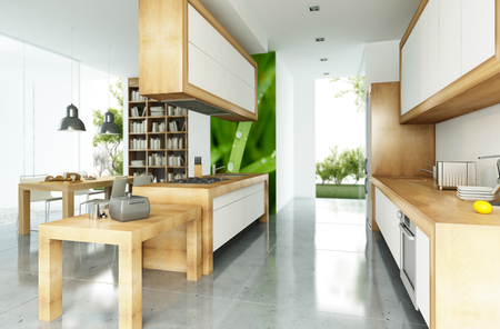 open plan: Modern house with an open plan kitchen concept