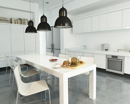 3D rendering of a modern spacious white kitchen Stock Photo