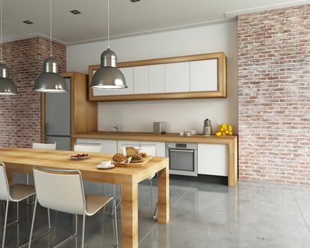 現代の産業スタイルのキッチンの 3 D レンダリング 写真素材