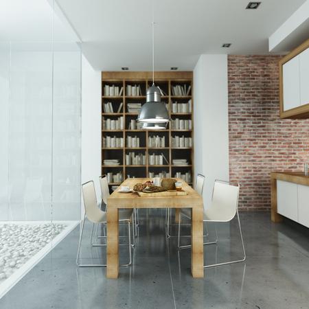 entre moderno, con paredes de vidrio y cocina abierta