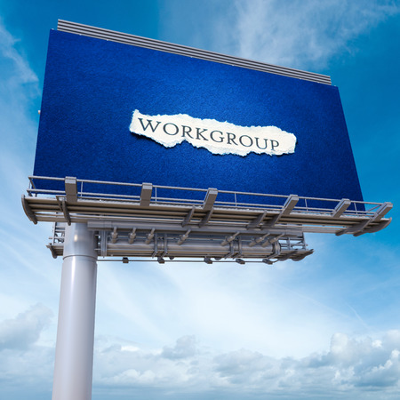 workgroup: 3D rendering of an advertisement billboard with the word workgroup Stock Photo