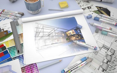 work table: 3D rendering of an architects desktop with a house render, markers and  color swatches
