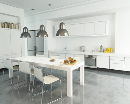 modular home: 3D rendering of a modern spacious white kitchen Stock Photo