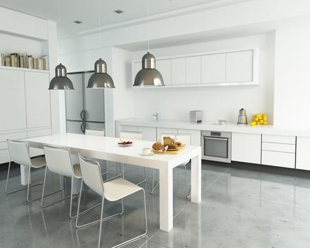 cocinas industriales: Representación 3D de una cocina blanca moderna y espaciosa Foto de archivo