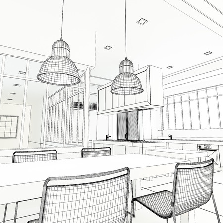 industrial decor: 3D rendering of an impressive industrial style kitchen in black and white