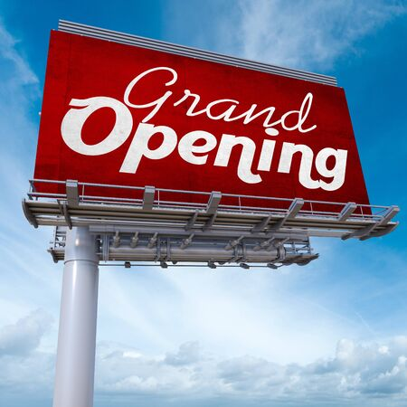grand sale: 3D rendering of an advertising billboard with the words grand opening