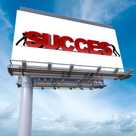 billboards: 3D rendering of an advertisement billboard with the word success Stock Photo