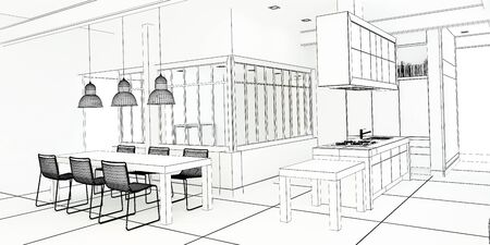 impressive: 3D rendering of an impressive industrial style kitchen in black and white