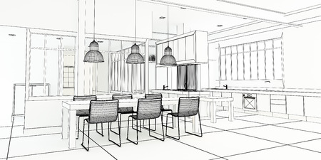 penthouse: 3D rendering of an impressive industrial style kitchen in black and white