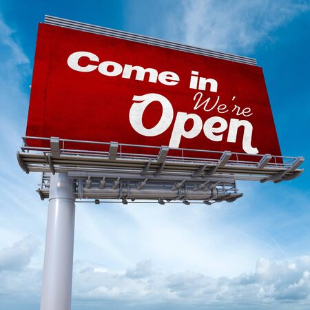 come in: 3D rendering of an advertising billboard with the words Come in, we are open Stock Photo