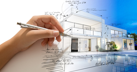 exterior: Hand drafting a design villa and the building becoming real