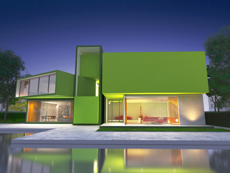 upscale: Realistic rendering of a very modern upscale green house Stock Photo