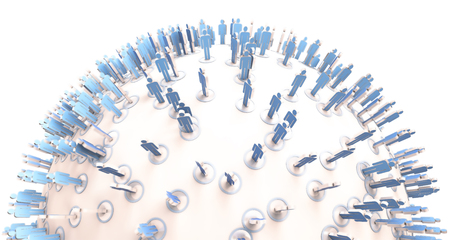 populated: 3D rendering of a sphere populated with blue people pictograms Stock Photo