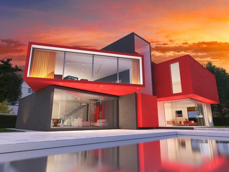 Realistische 3D-Rendering von einem sehr modernen gehobenen roten Haus Standard-Bild - 65377478
