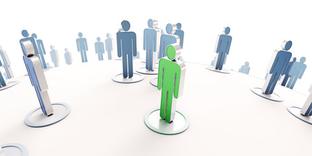 picto: 3D rendering of a green human icon with blue people pictograms