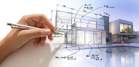 Hand Ausarbeitung eines Design-Villa und das Gebäude immer echte Standard-Bild - 65377666