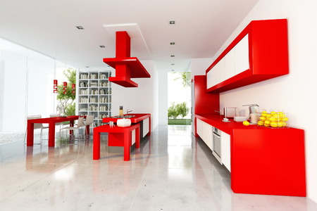 glimpse: 3D rendering of modern interior with open plan kitchen, dinning room and library, and a glimpse of a garden Stock Photo