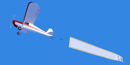 独自のメッセージを挿入するため理想的な空白のバナーを運ぶ小型航空機の 3D レンダリング