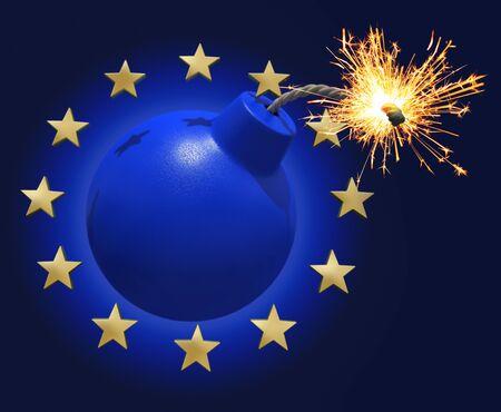 Blue bomb surrounded by stars symbolizing the Euro  Stock Photo