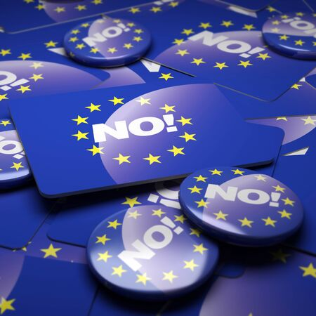 skepticism: 3D rendering of a campaign background with badges with the European Union symbol and the word No