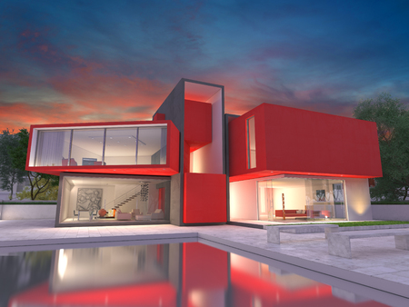 Realistic rendering of a very modern upscale red house