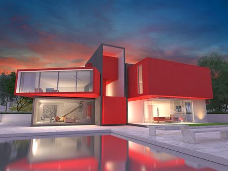Realistische weergave van een zeer moderne luxe rode huis