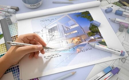 color design: Hand sketching on an architect desktop with a house render, markers and  color swatches Stock Photo