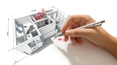scribbling: Architecture 3D rendering of a house with a hand scribbling notes and indications Stock Photo