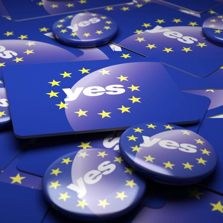 motto: 3D rendering of a campaign background with badges with the European Union symbol and the word yes