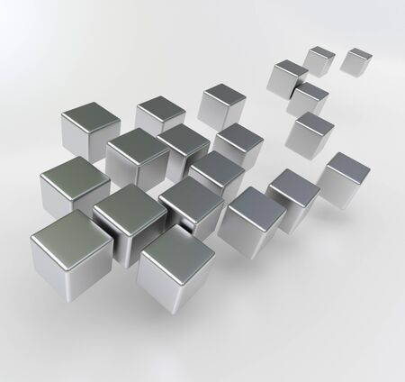 shinny: 3D rendering of a group of metallic cubic shapes against a white background