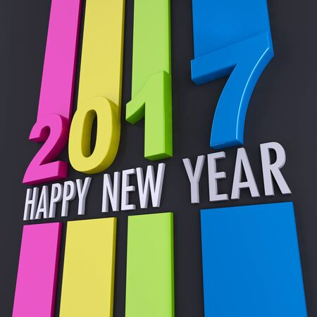 3D rendering of happy new year 2017 message in colorful relief with a black background Stock Photo