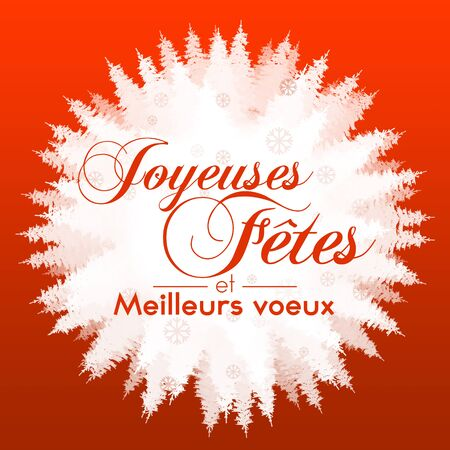 snow forest: Red and white illustration with a snow forest background with Christmas greetings in French Stock Photo