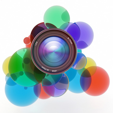 Multicolored transparent circles surrounding a camera lens