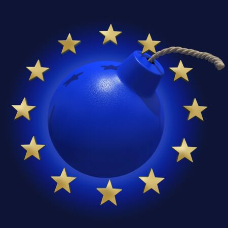 Blue bomb surrounded by stars symbolizing the Euro  Stock Photo