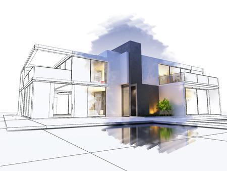 3D-Rendering von einer luxuriösen Villa mit einem technischen Entwurf Teil kontras Standard-Bild - 67563440