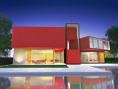 upscale: Realistic rendering of a very modern upscale red house