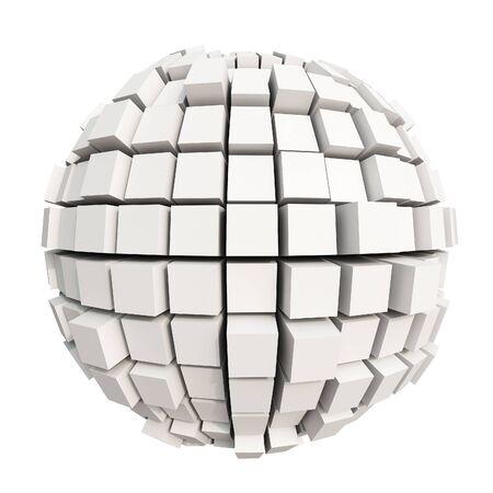 forme geometrique: rendu 3D d'une sphère blanche formée par des cubes Banque d'images