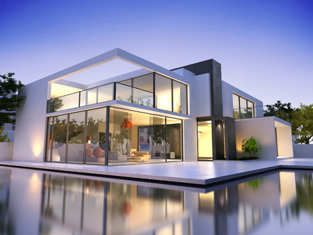 Realistic 3D rendering of a very modern upscale house with swimming pool