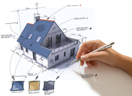 specifications: Hand sketching on a house rendering indicating materials and colors Stock Photo