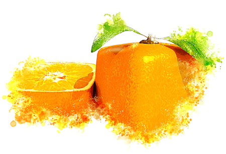 Illustration of  a cubic orange fruit and a half