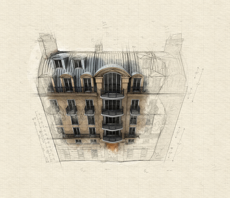 Illustration of a typically Parisian building with an unfinished vintage air